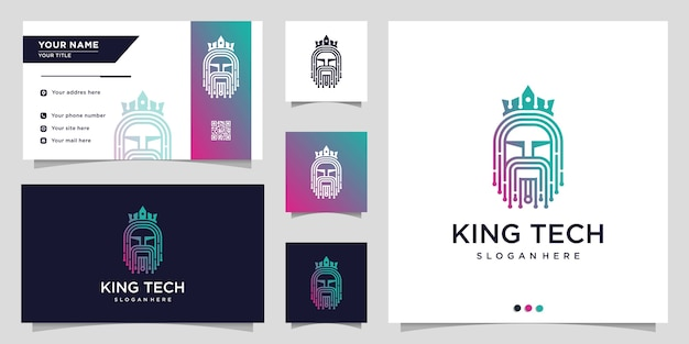 Logotipo da tecnologia com estilo de arte de linha coroa e rei e modelo de design de cartão de visita