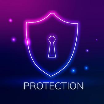 Logotipo da tecnologia com ícone de bloqueio de escudo em tom roxo