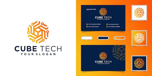 Logotipo da tecnologia cube, hexágono e cartão de visita de inspiração