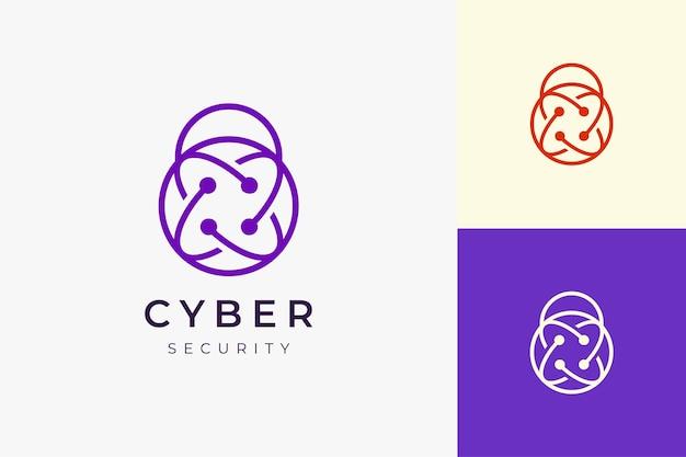 Logotipo da tecnologia de segurança ou proteção em formato de cadeado simples e limpo
