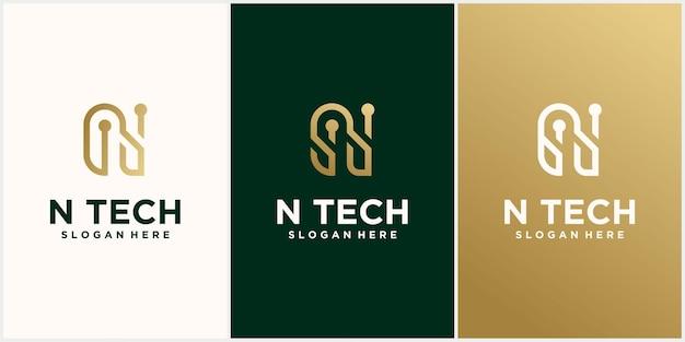 Logotipo da tecnologia design do logotipo da letra inicial n com combinação de cores