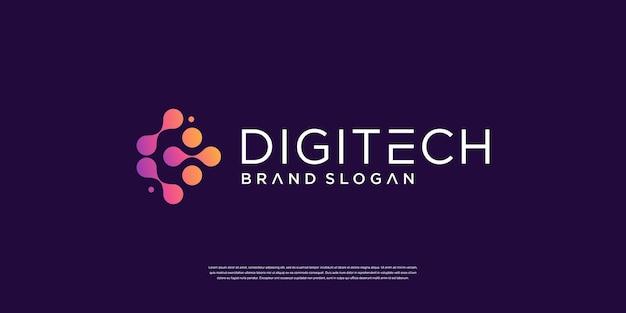 Logotipo da tecnologia digital com conceito de molécula premium vector