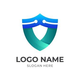 Logotipo da tecnologia escudo, escudo e tecnologia, logotipo de combinação com estilo de cor verde e azul 3d