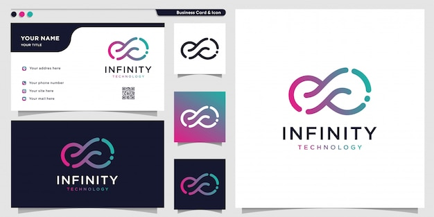 Logotipo da tecnologia infinita com estilo de arte de linha e modelo de design de cartão de visita, contorno, gradiente de cor, tecnologia, modelo