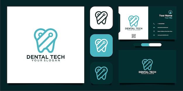 Logotipo da tecnologia odontológica com design de linha e cartão de visita