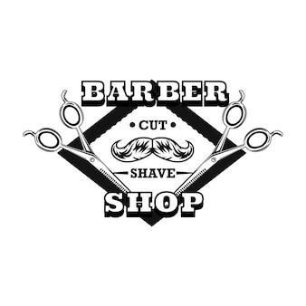 Logotipo da tesoura de barbeiro com bigode e amostra de texto