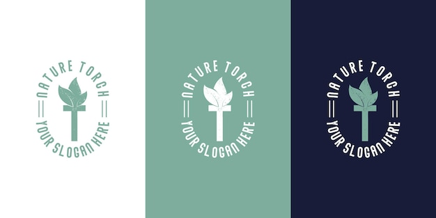 Logotipo da tocha com fogo de folha de combinação.