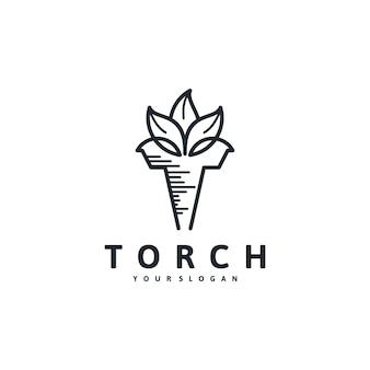 Logotipo da tocha, combinação com conceito de folha