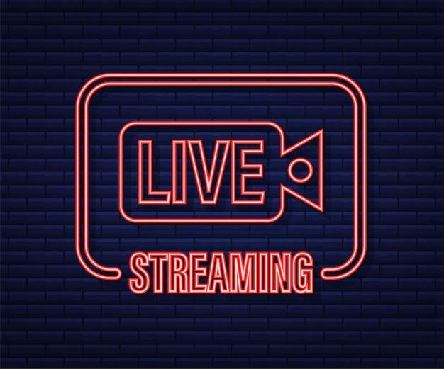 Logotipo da transmissão ao vivo. ícone de néon. interface de fluxo. ilustração em vetor das ações.
