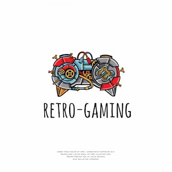 Logotipo da vara de jogos retro vintage