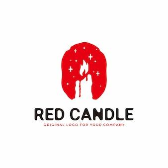 Logotipo da vela em estilo antigo combinado com a cor vermelha ardente