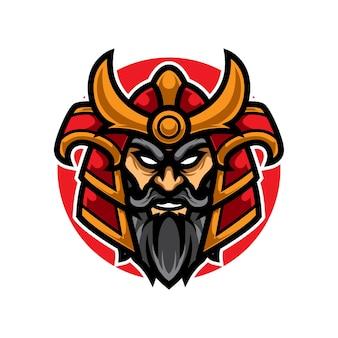 Logotipo da velha mascote do samurai e sport