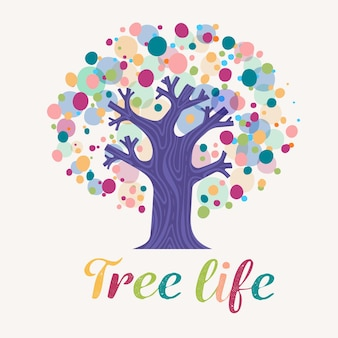 Logotipo da vida na árvore de pontos coloridos
