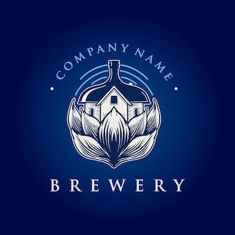 Logotipo da vintage brewing house company