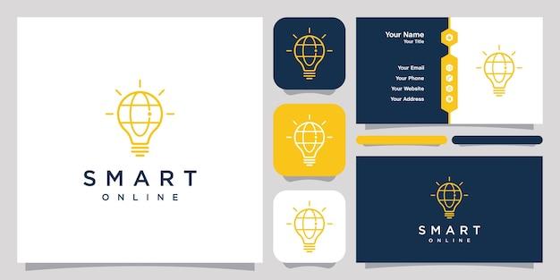 Logotipo da web on-line inteligente com design de arte de linha e modelo de cartão de visita