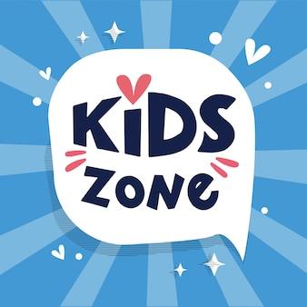 Logotipo da zona infantil, banner no balão com raios, mão desenhada letras composição