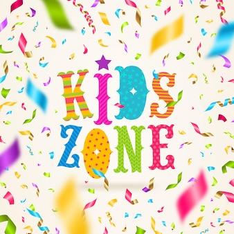 Logotipo da zona infantil com confetes coloridos.