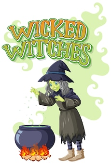 Logotipo das bruxas más em fundo branco