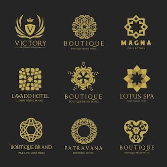 Logotipo das cristas. design de design de logotipo de luxo para hotel, imobiliário, spa, identidade de marca de moda