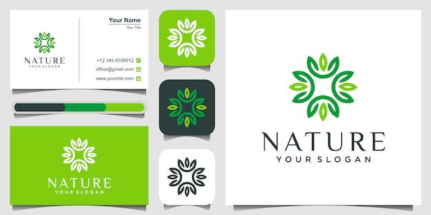 Logotipo das folhas, natureza e conceito de ioga e cartão de visita