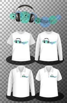 Logotipo das notas musicais com conjunto de diferentes camisas com tela do logotipo das notas musicais nas camisetas