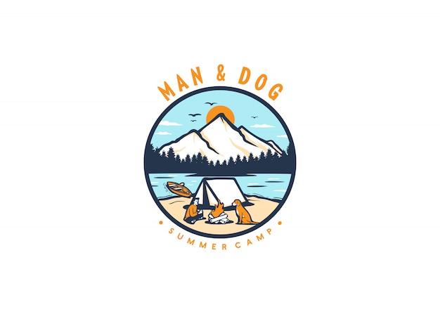 Logotipo de acampamento de homem e cachorro