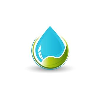 Logotipo de água e folha