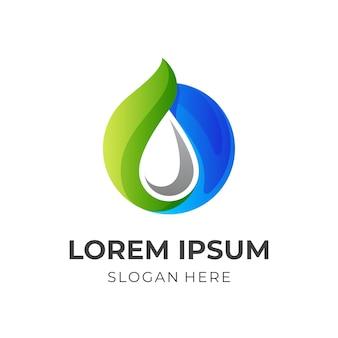 Logotipo de água natural, água e folha, logotipo de combinação com estilo de cor azul e verde 3d