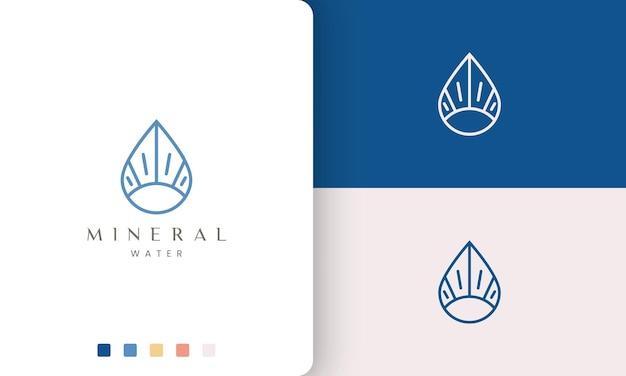 Logotipo de água ou mineral em linha mono e formato único