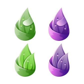 Logotipo de água verde folha