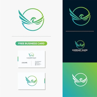 Logotipo de águia voar e modelo de vetor de cartão
