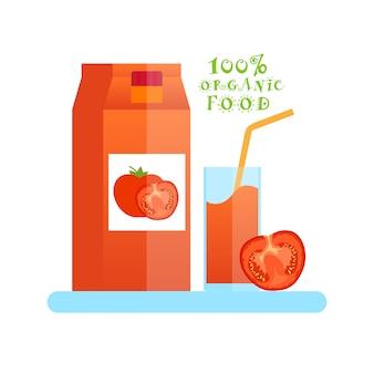 Logotipo de alimentos orgânicos com copo de suco de tomate isolado