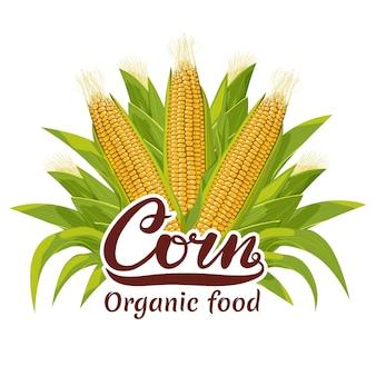 Logotipo de alimentos orgânicos de espiga de milho