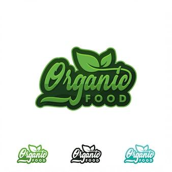 Logotipo de alimentos orgânicos ou rótulo. ícone saudável do alimento e do produto com ilustração verde da folha.