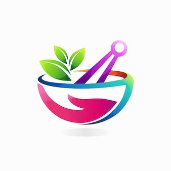 Logotipo de almofariz e pilão com conceito de cor gradiente