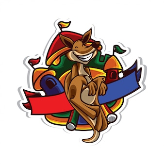 Logotipo de aluguel de festa canguru