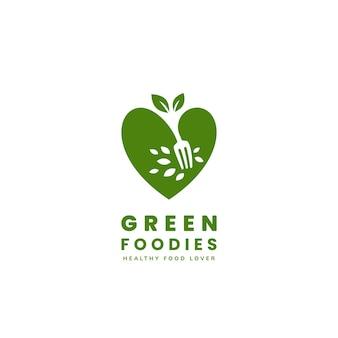 Logotipo de amante de comida vegana verde saudável ícone de logotipo de foodie vegetariano