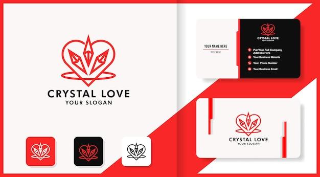 Logotipo de amor de cristal com logotipo de linha simples e design de cartão de visita