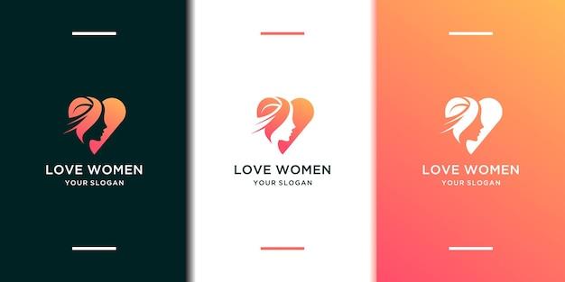 Logotipo de amor de mulher em cor gradiente