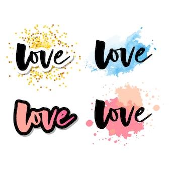 Logotipo de amor letras conjunto de caligrafia logotipo