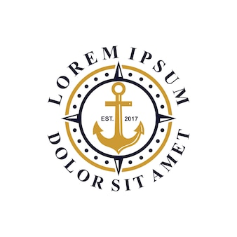 Logotipo de âncora e bússola