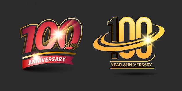 Logotipo de aniversário de ouro vermelho 100 anos com fita de aniversário