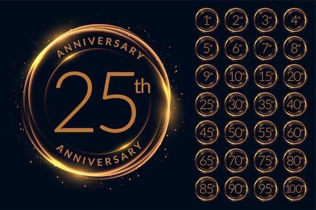 Logotipo de aniversário design grande conjunto