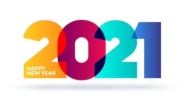 Logotipo de ano novo com cores gradientes de cores. recurso. modelo.