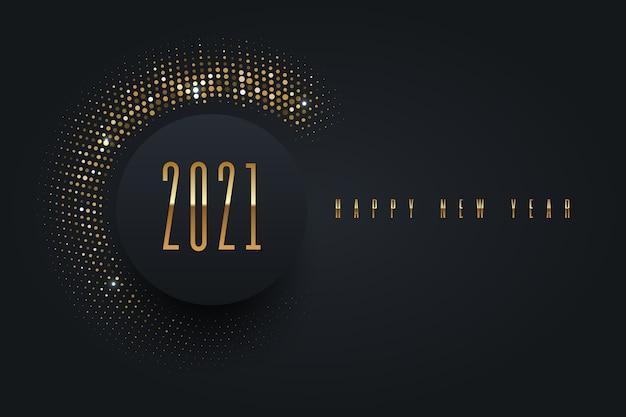 Logotipo de ano novo com meio-tom dourado brilhante