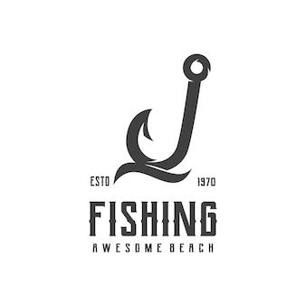 Logotipo de anzol de pesca retrô silhueta vintage
