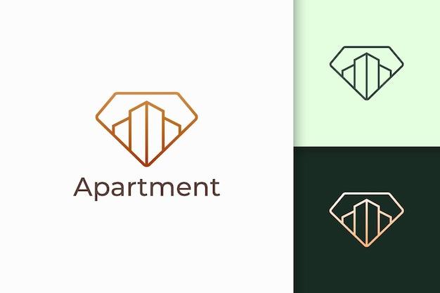 Logotipo de apartamento ou propriedade em formato de diamante para negócios imobiliários