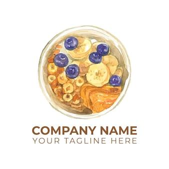 Logotipo de aquarela de bolos doces