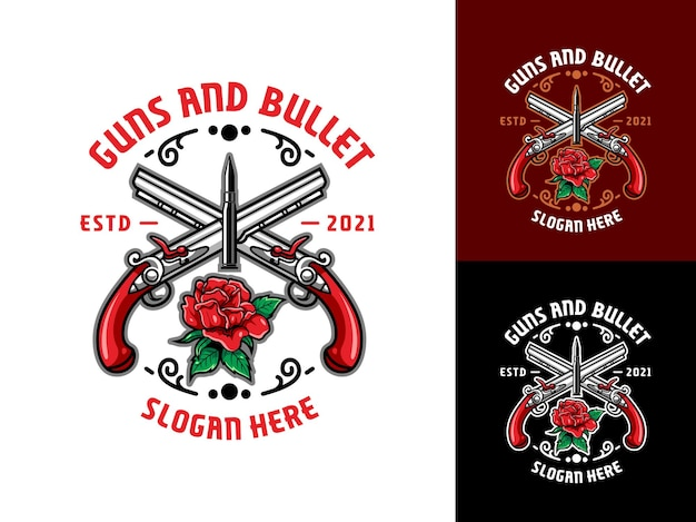 Logotipo de armas de luxo e vintage, bala e rosas vermelhas