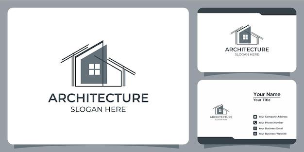 Logotipo de arquitetura minimalista com design de logotipo em estilo line art e modelo de cartão de visita